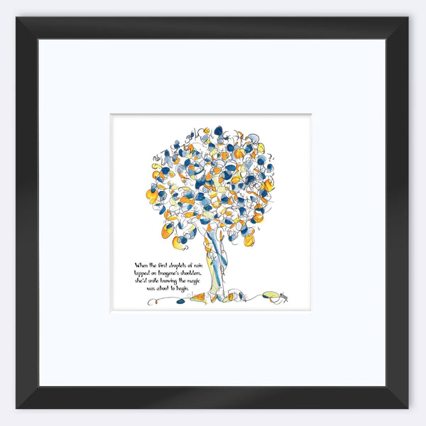 "IMOGENE | Framed Print Framed TREES HAVE FEELINGS 8""x8"" print + 3.5"" mat Black"
