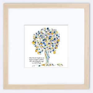 "IMOGENE | Framed Print Framed TREES HAVE FEELINGS 8""x8"" print + 3.5"" mat Natural"