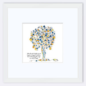 "IMOGENE | Framed Print Framed TREES HAVE FEELINGS 8""x8"" print + 3.5"" mat White"