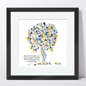 "IMOGENE | Framed Print Framed TREES HAVE FEELINGS 8""x8"" print + 1.5"" mat Black"