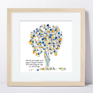 "IMOGENE | Framed Print Framed TREES HAVE FEELINGS 8""x8"" print + 1.5"" mat Natural"