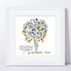 "IMOGENE | Framed Print Framed TREES HAVE FEELINGS 8""x8"" print + 1.5"" mat White"