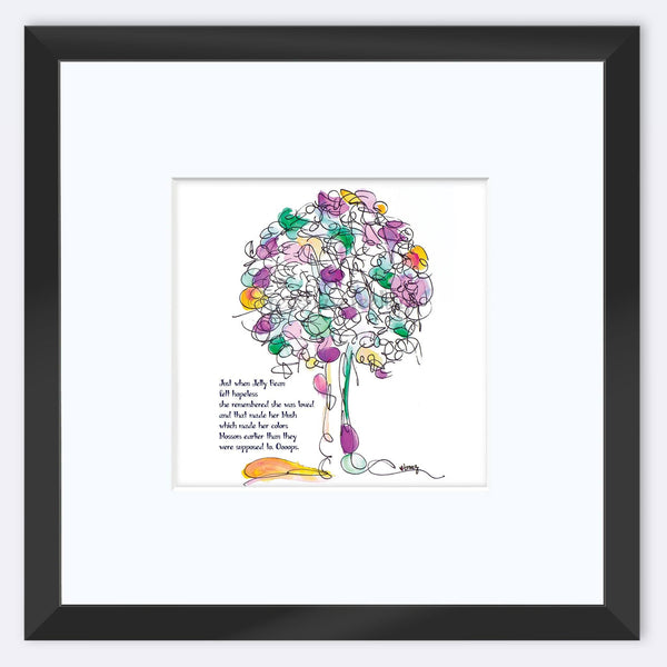"JELLY BEAN | Framed Print Framed TREES HAVE FEELINGS 8""x8"" print + 3.5"" mat Black"