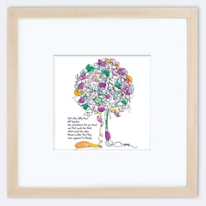 "JELLY BEAN | Framed Print Framed TREES HAVE FEELINGS 8""x8"" print + 3.5"" mat Natural"