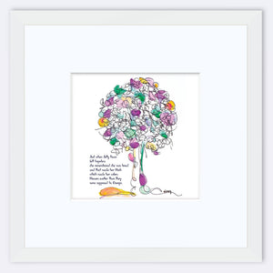 "JELLY BEAN | Framed Print Framed TREES HAVE FEELINGS 8""x8"" print + 3.5"" mat White"