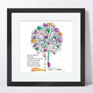 "JELLY BEAN | Framed Print Framed TREES HAVE FEELINGS 8""x8"" print + 1.5"" mat Black"