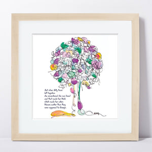 "JELLY BEAN | Framed Print Framed TREES HAVE FEELINGS 8""x8"" print + 1.5"" mat Natural"
