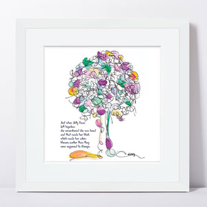 "JELLY BEAN | Framed Print Framed TREES HAVE FEELINGS 8""x8"" print + 1.5"" mat White"