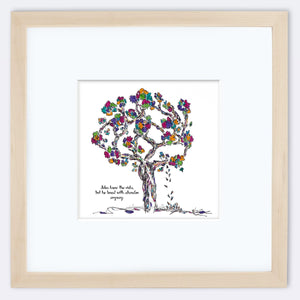 "JULES | Framed Print Framed TREES HAVE FEELINGS 8""x8"" print + 3.5"" mat Natural"
