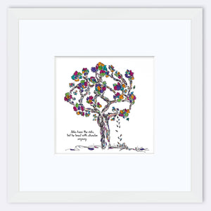 "JULES | Framed Print Framed TREES HAVE FEELINGS 8""x8"" print + 3.5"" mat White"