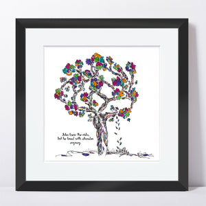 "JULES | Framed Print Framed TREES HAVE FEELINGS 8""x8"" print + 1.5"" mat Black"