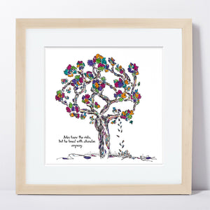 "JULES | Framed Print Framed TREES HAVE FEELINGS 8""x8"" print + 1.5"" mat Natural"