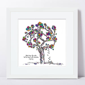 "JULES | Framed Print Framed TREES HAVE FEELINGS 8""x8"" print + 1.5"" mat White"