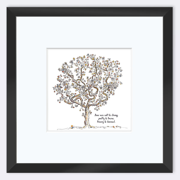 "JUNE | Framed Print Framed TREES HAVE FEELINGS 8""x8"" print + 3.5"" mat Black"