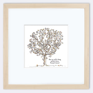 "JUNE | Framed Print Framed TREES HAVE FEELINGS 8""x8"" print + 3.5"" mat Natural"