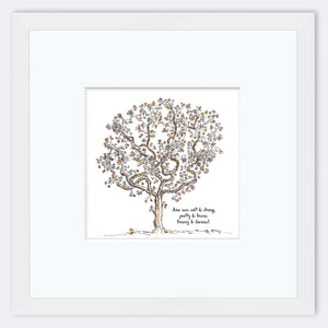 "JUNE | Framed Print Framed TREES HAVE FEELINGS 8""x8"" print + 3.5"" mat White"
