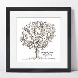 "JUNE | Framed Print Framed TREES HAVE FEELINGS 8""x8"" print + 1.5"" mat Black"