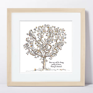"JUNE | Framed Print Framed TREES HAVE FEELINGS 8""x8"" print + 1.5"" mat Natural"
