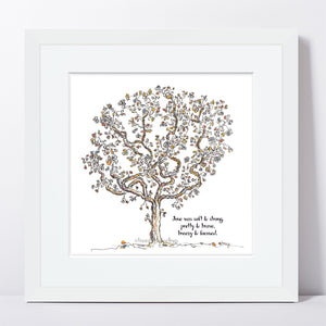 "JUNE | Framed Print Framed TREES HAVE FEELINGS 8""x8"" print + 1.5"" mat White"