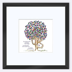 "KEVIN | Framed Print Framed TREES HAVE FEELINGS 8""x8"" print + 3.5"" mat Black"