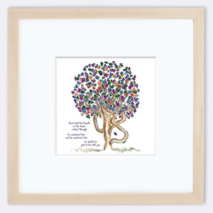 "KEVIN | Framed Print Framed TREES HAVE FEELINGS 8""x8"" print + 3.5"" mat Natural"