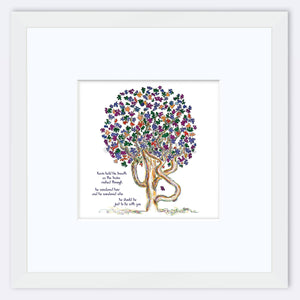 "KEVIN | Framed Print Framed TREES HAVE FEELINGS 8""x8"" print + 3.5"" mat White"