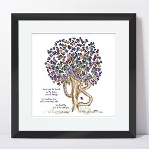 "KEVIN | Framed Print Framed TREES HAVE FEELINGS 8""x8"" print + 1.5"" mat Black"