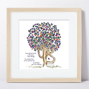 "KEVIN | Framed Print Framed TREES HAVE FEELINGS 8""x8"" print + 1.5"" mat Natural"