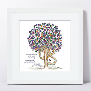 "KEVIN | Framed Print Framed TREES HAVE FEELINGS 8""x8"" print + 1.5"" mat White"