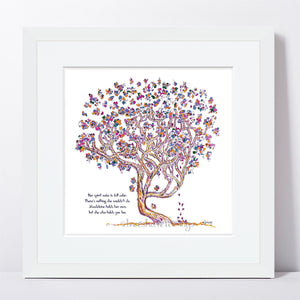 "MADELEINE | Framed Print Framed TREES HAVE FEELINGS 8""x8"" print + 1.5"" mat White"