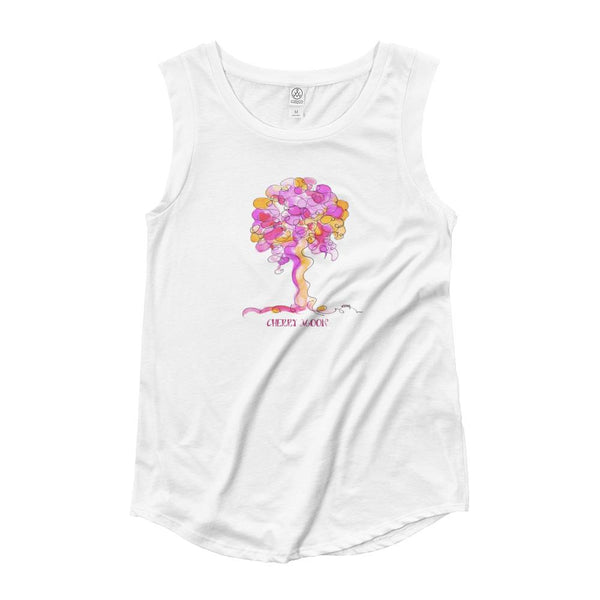 CHERRY MOON | Story on Back | Ladies' Cap Sleeve TREE-Shirt PHYSICAL TREES HAVE FEELINGS S