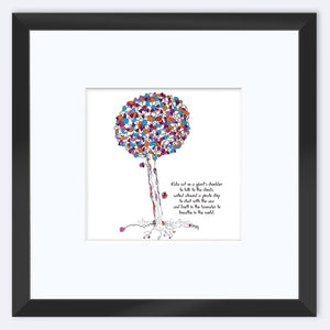 "NALA | Framed Print Framed TREES HAVE FEELINGS 8""x8"" print + 3.5"" mat Black"