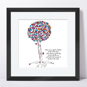 "NALA | Framed Print Framed TREES HAVE FEELINGS 8""x8"" print + 1.5"" mat Black"