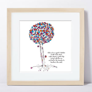 "NALA | Framed Print Framed TREES HAVE FEELINGS 8""x8"" print + 1.5"" mat Natural"