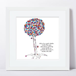 "NALA | Framed Print Framed TREES HAVE FEELINGS 8""x8"" print + 1.5"" mat White"