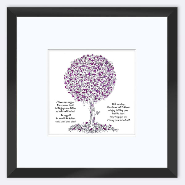 "PHINEAS | Framed Print Framed TREES HAVE FEELINGS 8""x8"" print + 3.5"" mat Black"