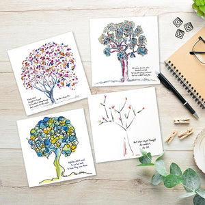 """ROOTED GREETING CARDS   5""""x5"""" folded   Pack of 8"""