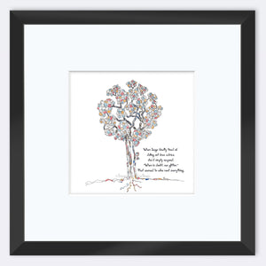 "SAGE | Framed Print Framed TREES HAVE FEELINGS 8""x8"" print + 3.5"" mat Black"