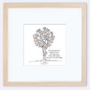 "SAGE | Framed Print Framed TREES HAVE FEELINGS 8""x8"" print + 3.5"" mat Natural"