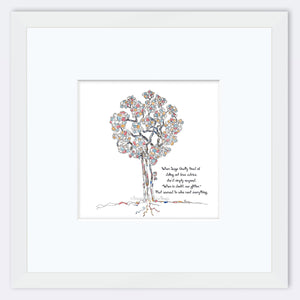 "SAGE | Framed Print Framed TREES HAVE FEELINGS 8""x8"" print + 3.5"" mat White"