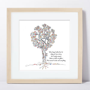 "SAGE | Framed Print Framed TREES HAVE FEELINGS 8""x8"" print + 1.5"" mat Natural"
