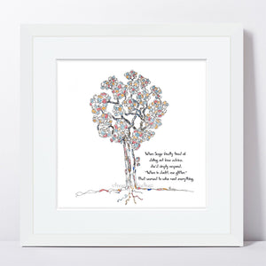 "SAGE | Framed Print Framed TREES HAVE FEELINGS 8""x8"" print + 1.5"" mat White"