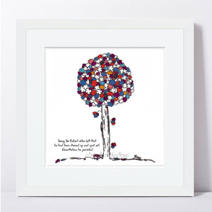 "SIR ROBERT | Framed Print Framed TREES HAVE FEELINGS 8""x8"" print + 1.5"" mat White"