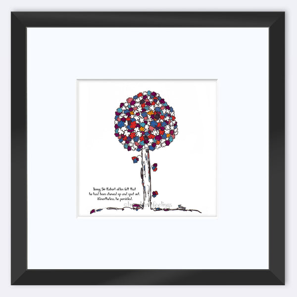 "SIR ROBERT | Framed Print Framed TREES HAVE FEELINGS 8""x8"" print + 3.5"" mat Black"
