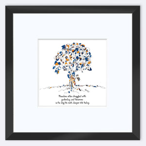 "THEODORE | Framed Print Framed TREES HAVE FEELINGS 8""x8"" print + 3.5"" mat Black"
