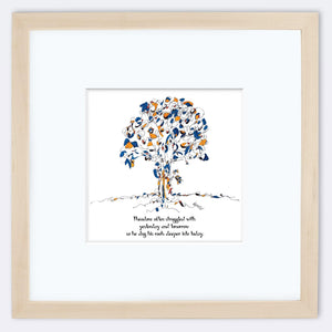 "THEODORE | Framed Print Framed TREES HAVE FEELINGS 8""x8"" print + 3.5"" mat Natural"
