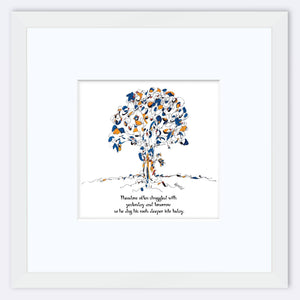 "THEODORE | Framed Print Framed TREES HAVE FEELINGS 8""x8"" print + 3.5"" mat White"