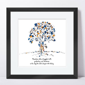 "THEODORE | Framed Print Framed TREES HAVE FEELINGS 8""x8"" print + 1.5"" mat Black"