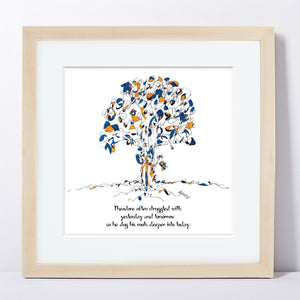 "THEODORE | Framed Print Framed TREES HAVE FEELINGS 8""x8"" print + 1.5"" mat Natural"
