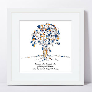 "THEODORE | Framed Print Framed TREES HAVE FEELINGS 8""x8"" print + 1.5"" mat White"